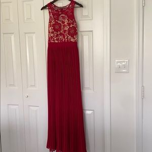 Red lace and pleated formal dress